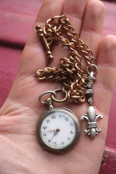 Gold Vermeil Antique pocket watch with fob, french silver fleur de lys, ladies silver watch with sapphires, Edwardian Statement jewelry, Silver Pocket Watch, Pocket Watch Antique, Antique Jewelry, Silver Jewelry, Gold Dots, Statement Jewelry, Gold Watch, Bracelet Watch, French
