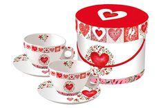 www.gifthaus.co.za Red Hearts Cappuccino Red Hearts, Tea Time, Tea Cups, Porcelain, Mugs, Tableware, Porcelain Ceramics, Dinnerware, Tumblers