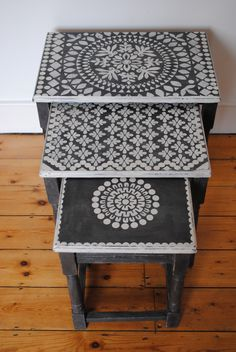 The first nest of tables I ever stencilled. #nicolettetabramstencils #paintedfurniture
