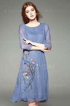 Shop Pure Color Embroidery Silk Loose Dress at EZPOPSY. Shift Dresses, Day Dresses, Chiffon Floral, Floryday Vestidos, Casual Formal Dresses, Dress Casual, Vintage Midi Dresses, Long Cocktail Dress, Vestido Casual