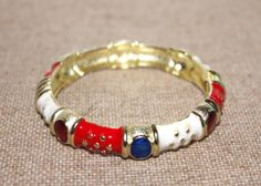 Red White Blue and Gold Patriotic 4th of July Enamel Bangle