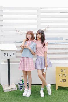 Korean Fashion Pastel, Korean Fashion Work, Pink Fashion, Cute Fashion, Asian Fashion, Matching Outfits Best Friend, Friend Outfits, Ulzzang Korean Girl, Cute Korean Girl
