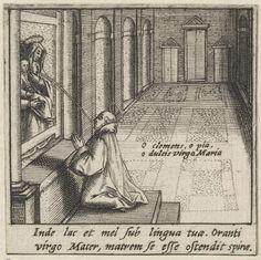anoniem | Heilige Bernardus van Clairvaux ontvangt in een visioen de moedermelk van de maagd Maria (Lactatio Bernardi), possibly Raphaël Sadeler (I), 1605 - 1628 | Tijdens het bidden voor een schilderij van Maria met kind ontvangt de H. Bernardus van Clairvaux in een visioen een druppel moedermelk uit de borst van de maagd Maria. De prent maakt deel uit van een veertiendelige serie die een kader vormt rondom een afbeelding van de H. Bernardus van Clairvaux.
