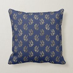 Shop Gold Foil Vintage Mermaid Pattern Navy Blue Throw Pillow created by ThrowPillowNest. Navy Blue Throw Pillows, Colorful Throw Pillows, Blue Throws, Gold Pillows, Vintage Mermaid, Mermaid Art, Mermaid Paintings, Nautical Pattern, Gold Pattern
