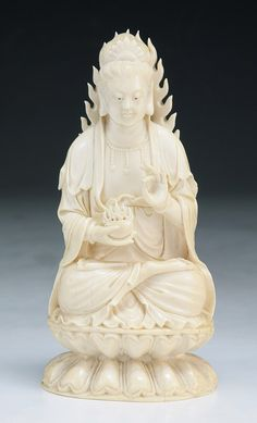 A Chinese Antique Carved Ivory Guanyin