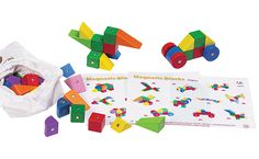 Set of 32 magnetic wooden blocks in various shapes and colours, some of which have holes to insert an axle. Clear varnish or painted colour. Learning Through Play, Fun Learning, Magnetic Building Blocks, Block Play, Small World Play, Arts And Crafts Supplies, Christmas Wallpaper, Childhood Education, 4 Kids
