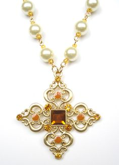 Lady Maerwynn Necklace & Earring Set - Camelot Collection renaissance medieval tudor elizabethan cross pearls jewelry $45