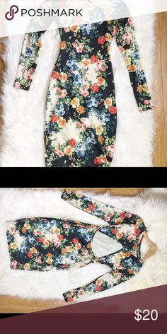 Blossom in the Spring Floral print midi dress with a peek a boo back. ASOS Dresses Midi