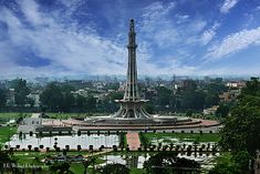 """Minar-e-Pakistan, literally """"Tower of Pakistan"""" is a public monument located in Iqbal Park Lahore, Pakistan. Pakistan Tourism, Pakistan Travel, Lahore Pakistan, Pakistan News, Beautiful World, Beautiful Places, History Of Pakistan, Ruined City, Persian Garden"""
