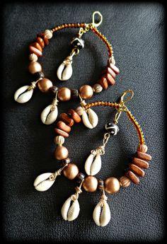Cowrie Shell Tribal Hoop Earrings  African by KheperaAdornments, $30.00