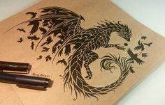 Dark raven dragon by @alviaalcedo #dark #raven #dragon #fantasy #magic #art #design