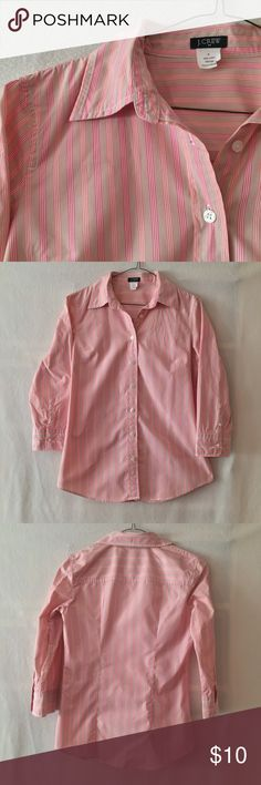 """J. Crew pink khaki striped button down shirt EUC. No rips, stains, tears, or holes. J. Crew factory button down shirt with dark pink, light peachy pink, khaki brown, and white stripes. 3/4 sleeves. 100% cotton. Measurements (flat): shoulder width: 15"""", bust 18.5"""", sleeves: 18"""", length: 26"""". Style 15331. Machine wash. No trades please! J. Crew Tops Button Down Shirts"""