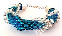 Bracelet, glass, rope, stitch, toho, pendant, Bransoletka, szkło, beads, koraliki, zawieszka,