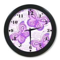 Home Decor Original Beautiful Purple Butterfly Art Celebrating Elegant Wall Clock Fashion Clocks http://www.amazon.com/dp/B00K83WAE8/ref=cm_sw_r_pi_dp_rWePub1JCAVAP