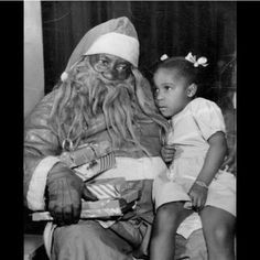 A little girl telling Santa what she would like for Christmas. Photo circa is Soulful Christmas, Black Christmas, Xmas, Victorian Christmas, Family Christmas, Christmas Cards, Christmas Tree, Vintage Christmas Photos, Christmas Pictures