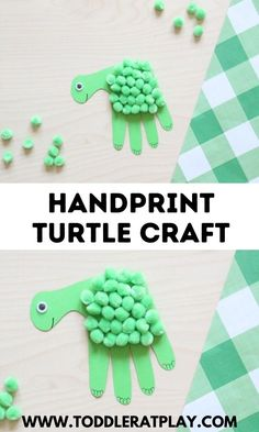 This craft is perfect for toddlers, preschoolers, kindergartners and even older kids. These turtles are made by tracing and cutting out your child's handprint! #turtlecrafts #handprintcraft #craftsforkids