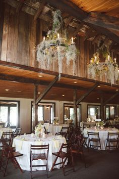 Event space at Magnolia in the Carriage House - Spanish moss chandeliers @wmosey
