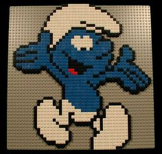 LEGO Smurf Mosaic Lego Duplo, Mosaic Patterns, Beading Patterns, Manual Lego, Mini Hama Beads, Perler Beads, Brick Art, Lego Wall, Crochet Slipper Pattern