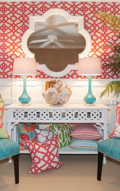 Palm Beach Sun Room - Tropical colors and vibrant prints make a room so much more inviting and inspiring!
