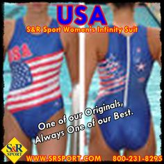 One of our originals, the #USA women's #Infinity #suit.  Awesome design & performance. Can't beat the USA! Great for #WaterPolo #Swimming #Triathlon #Synchro #Diving 800-231-8295 http://www.srsport.com/product_info.php/cPath/1001_1010_1065/products_id/4230