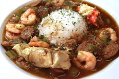 The Best EVER Gumbo recipe with Seafood, Chicken, Andouille Sausage, and more!