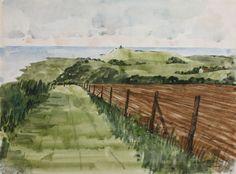 'Belle Toute (East Sussex)' by Robert Tavener, (watercolour) Landscape Paintings, Landscapes, Newhaven, Exhibition, East Sussex, Watercolour, British, England, Culture