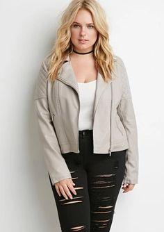 taupe moto jacket  $32.90  grunge vintage punk plus size fashion plus size clothing fachin moto jacket jacket leather jacket top plus f21