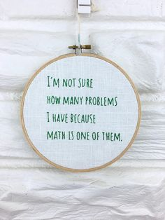 Math Problems Hand Embroidered Wall Art Gift under 25
