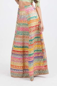 Peach net skirt with mirrored belt embroidery.*Skirt color can be customized Estimated arrival time is weeks from date of purchase Care instructions: Dry Clean Only Long Kurti With Skirt, Peach Tie, Indian Gowns, Bridal Outfits, Suit Fashion, Beautiful Gowns, Traditional Dresses, Blouse Designs, Tie Dye Skirt