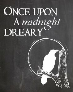 Edgar Allan Poes eery poem The Raven is the inspiration for this print.