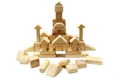 Wooden Building Blocks set 48 pcs Pine Wood Natural от sverlyk