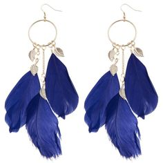 Blue Leaf and Feather Hoop Earrings ($5.54) ❤ liked on Polyvore featuring jewelry, earrings, accessories, boucles d'oreilles, brincos, leaves earrings, leaves jewelry, earrings jewelry, feather hoop earrings and oversized earrings