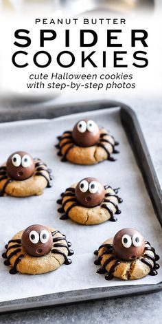 Peanut Butter Spider Cookies with Lindt Lindor Chocolate Truffles - the cutest Halloween treats! #halloween #peanutbutter #lindt #lindor #spidercookies Cute Halloween Treats, Halloween Cookie Recipes, Best Cookie Recipes, Halloween Desserts, Halloween Cookies, Easy Halloween, Holiday Recipes, Vegan Recipes, Spider Cookies