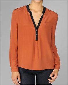 Black tipped silk blouse in burnt orange