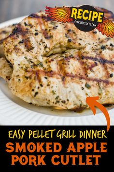 Apple Pork Cutlet recipe! So much flavor in this little cutlet, and the recipe also includes a tip for making a simple veggie side right on the grill! This is an easy weeknight BBQ pellet grilling recipe and it is a perfect fall recipe with apple flavors. Try something a little different tonight for an easy dinner! #BBQ #pork #apple #healthy #dinnerrecipe Pork Cutlet Recipes, Pork Roast Recipes, Pulled Pork Recipes, Bacon Recipes, Grilling Tips, Grilling Recipes, Smoker Recipes, Easy Dinner Recipes Pork, Pellet Grill Recipes