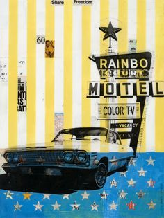 Robert Mars mixed media collage - alternating layers of paint & collage