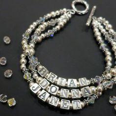 3 strand sterling mother bracelet Handmade Jewellery, Handcrafted Jewelry, Mothers Bracelet, Glitter, Sterling Silver, Diamond, Bracelets, Handmade Chain Jewelry, Bangles