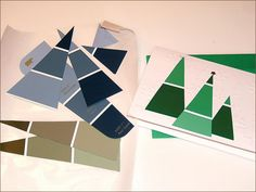 Paint chip samples from the home improvement store make simple Christmas trees.