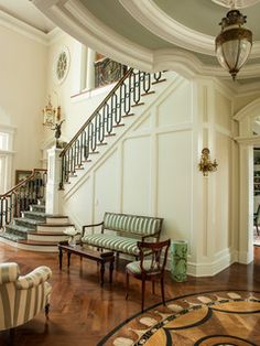 The front hall has walnut herringbone floors inlaid with handpainted marquetry Foyer Transitional Traditional by Taylor & Taylor Interior Exterior, Home Interior Design, Foyer Decorating, Interior Decorating, Architecture Design, Appartement Design, Coastal Living Rooms, House Rooms, Interiores Design