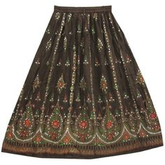 Womens Bohemian Skirt Red Green Dcrapechic Brown Floral Sequin Beaded... (€20) ❤ liked on Polyvore featuring skirts, bottoms, maxi skirts, long brown skirt, red maxi skirt, brown maxi skirt and red sequin skirt
