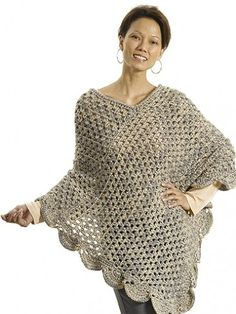 Yarnspirations: Caron 'The Gift' Poncho - Free Crochet Pattern in sizes XS/S, M, L/XL .