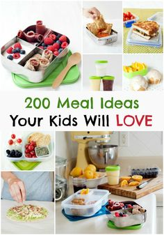 Kids Meals 200 Kid Friendly Meal Ideas - Easy breakfast, school lunch, snacks, smoothies, and treats! A Guide for Every Parent Easy School Lunches, Kids Lunch For School, Kid Lunches, Toddler Meals, Kids Meals, Easy Meals, Toddler Food, Food Kids, Healthy Kids