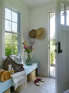 Its little details that really give a room its style, such as the country style hats on the wall, and the wild flowers in a jar. With jut a few touches, this entry way has the lovely feel of the country; it says, Welcome home! #country If you like this pin, why not head on over to get similar inspiration and join our FREE home design resource library at www.FlorenceAndFreya.com?