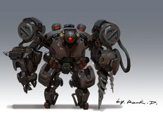 mecha concept by Rock D on ArtStation. Robot Concept Art, Game Concept Art, Character Concept, Character Design, Robot Art, Fighting Robots, Film D'animation, Sci Fi Characters, Character