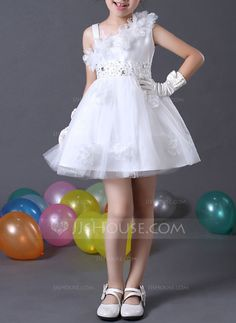 Princess Flowers Sequins Rhinestone Tulle Girl Dress Flower Girl Dress