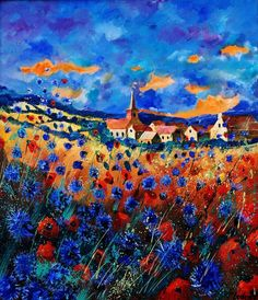 "Saatchi Online Artist: Pol Ledent; Oil, 2012, Painting ""red and blue poppies nin gendron"""