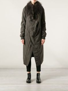 AUTH NWT DARK SHADOW BY RICK OWENS OVERSIZED FOX FUR COLLAR COAT SZ. M