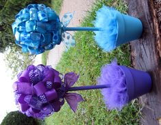 Banana Lala: {Ribbon Topiaries} Turquoise and Purple by jessicaj Kids Party Centerpieces, Lollipop Centerpiece, Topiary Centerpieces, Baby Shower Centerpieces, Easter Crafts, Fun Crafts, Diy And Crafts, Ribbon Topiary, Sweet 16 Decorations
