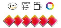 Liquid Floor Tile Playroom / Dance Floor / Sensory Room Tile (Yellow / Pink) 6 Pack