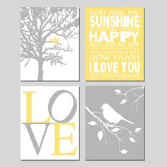 Yellow and Gray Nursery Art Set of Four 8x10 Nature by Tessyla, $65.00